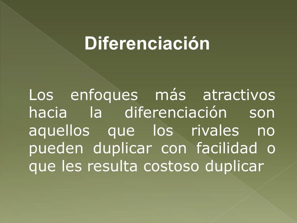 Diferenciación Los enfoques más atractivos hacia la diferenciación son aquellos que los rivales no pueden duplicar con facilidad o que les resulta cos