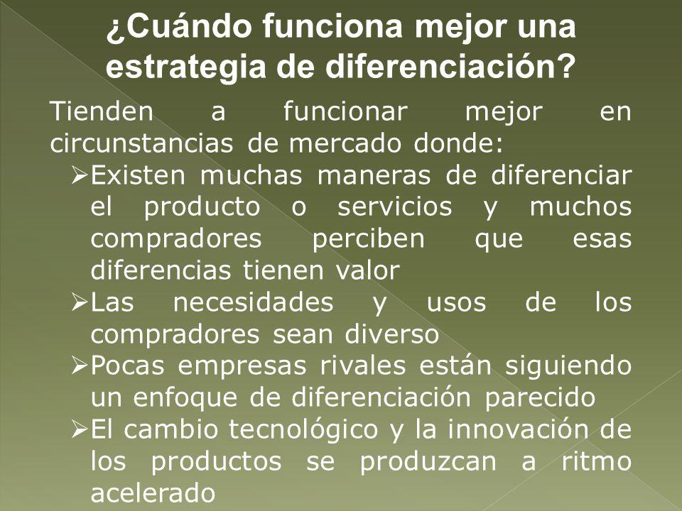 ¿Cuándo funciona mejor una estrategia de diferenciación? Tienden a funcionar mejor en circunstancias de mercado donde: Existen muchas maneras de difer