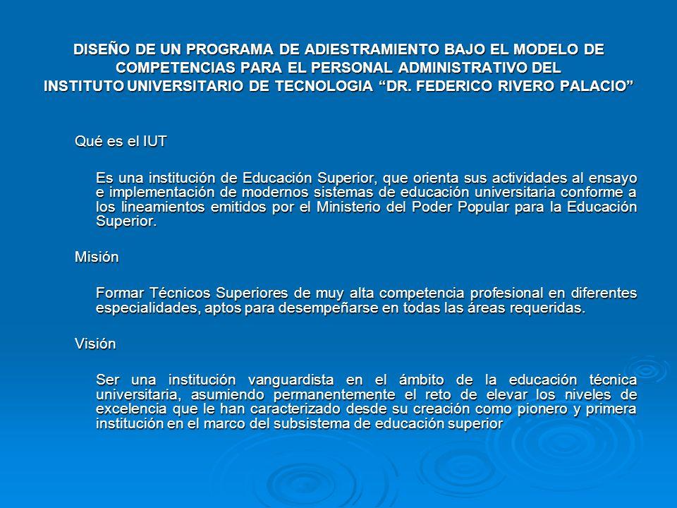 DISEÑO DE UN PROGRAMA DE ADIESTRAMIENTO BAJO EL MODELO DE COMPETENCIAS PARA EL PERSONAL ADMINISTRATIVO DEL INSTITUTO UNIVERSITARIO DE TECNOLOGIA DR. F