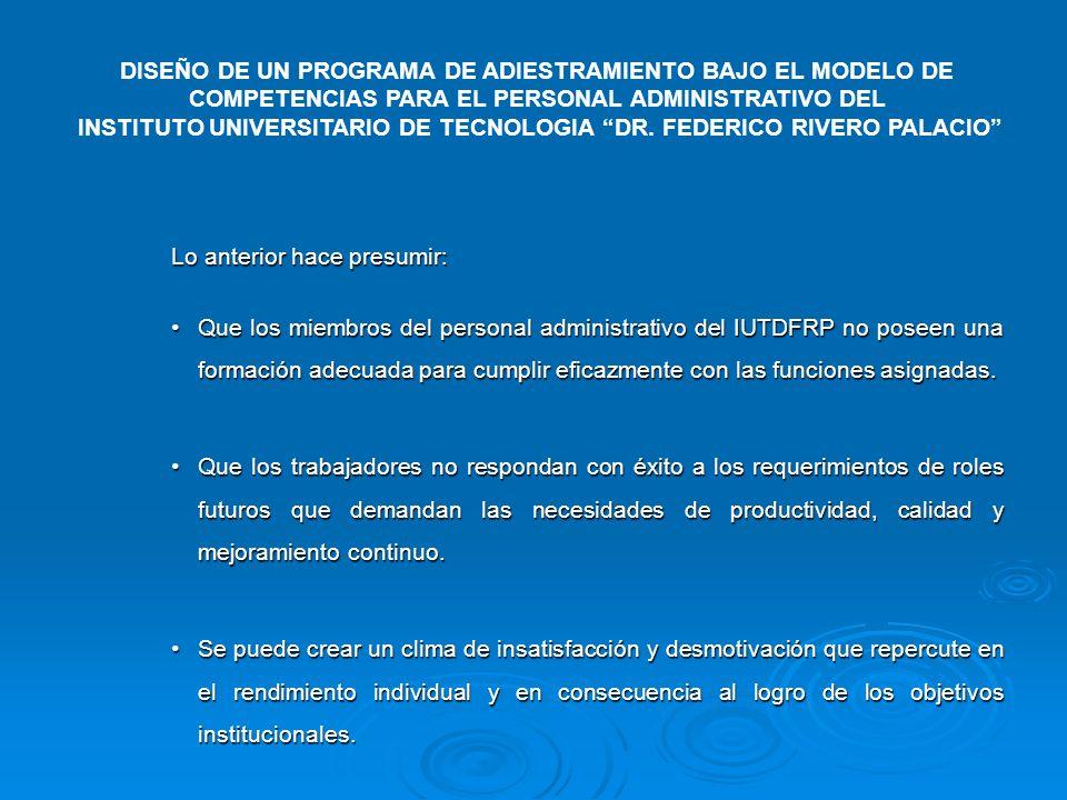 Lo anterior hace presumir: Que los miembros del personal administrativo del IUTDFRP no poseen una formación adecuada para cumplir eficazmente con las