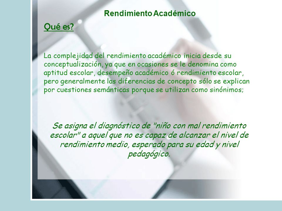 Rendimiento Académico Qué es.