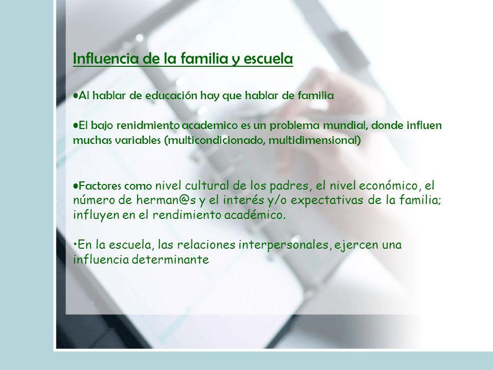 Influencia de la familia y escuela Al hablar de educación hay que hablar de familia El bajo renidmiento academico es un problema mundial, donde influe