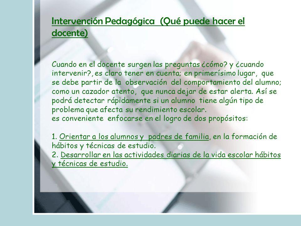 Intervención Pedagógica (Qué puede hacer el docente) Cuando en el docente surgen las preguntas ¿cómo.
