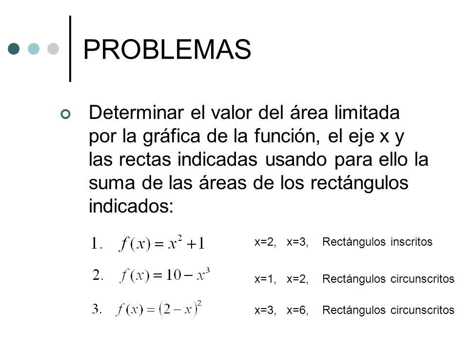PROBLEMAS Determinar el valor del área limitada por la gráfica de la función, el eje x y las rectas indicadas usando para ello la suma de las áreas de