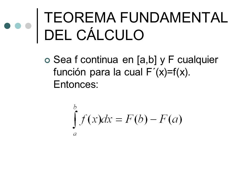 TEOREMA FUNDAMENTAL DEL CÁLCULO Sea f continua en [a,b] y F cualquier función para la cual F´(x)=f(x). Entonces: