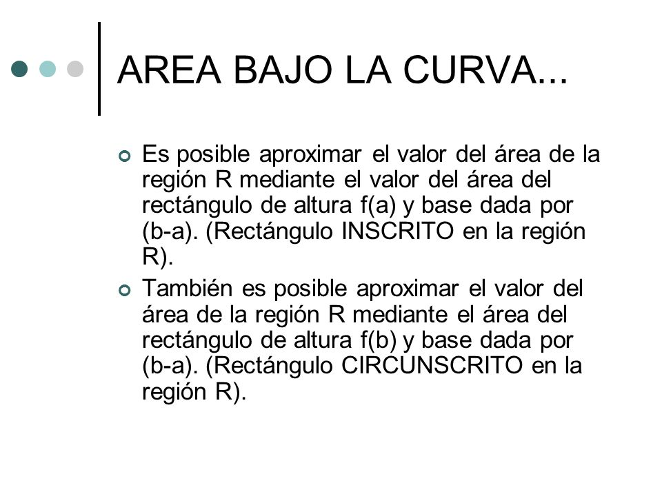AREA BAJO LA CURVA... Es posible aproximar el valor del área de la región R mediante el valor del área del rectángulo de altura f(a) y base dada por (