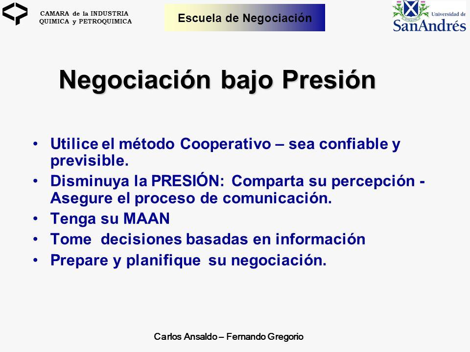 CAMARA de la INDUSTRIA QUIMICA y PETROQUIMICA Escuela de Negociación Negociación bajo Presión Negociación bajo Presión Utilice el método Cooperativo –
