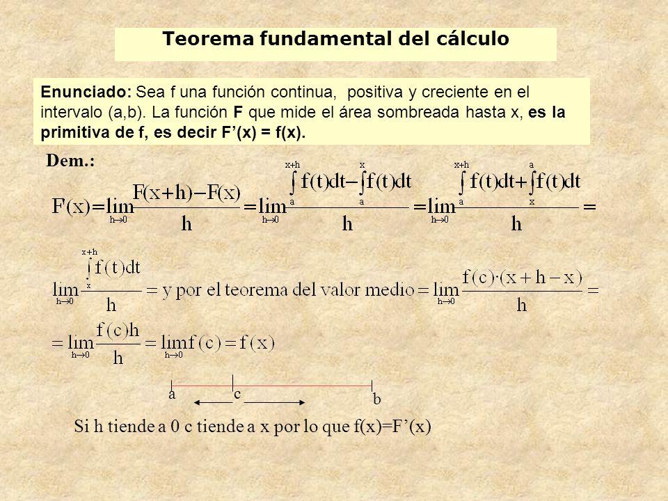 Regla de Barrow Como F(x) (función de áreas) es también una primitiva de f(x) en [a, b], F(x) y G(x) se diferencian en una constante: por tanto F(x) = G(x) + C.