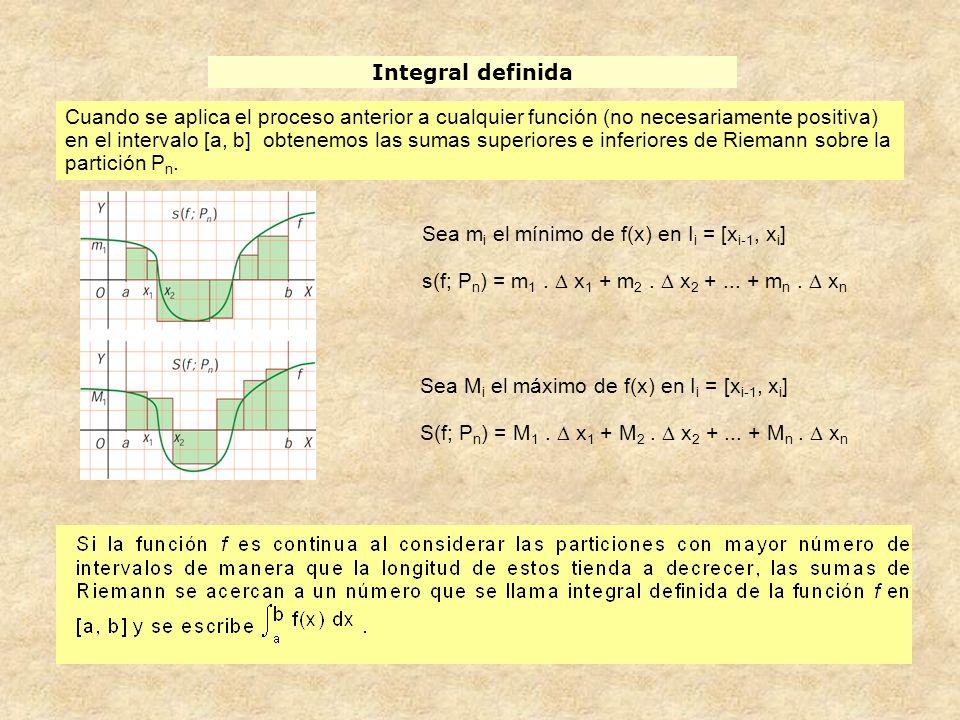 Integral definida y área bajo una curva I f(x) 0 x [a, b] f(x) R f(x) 0 x [a, b]