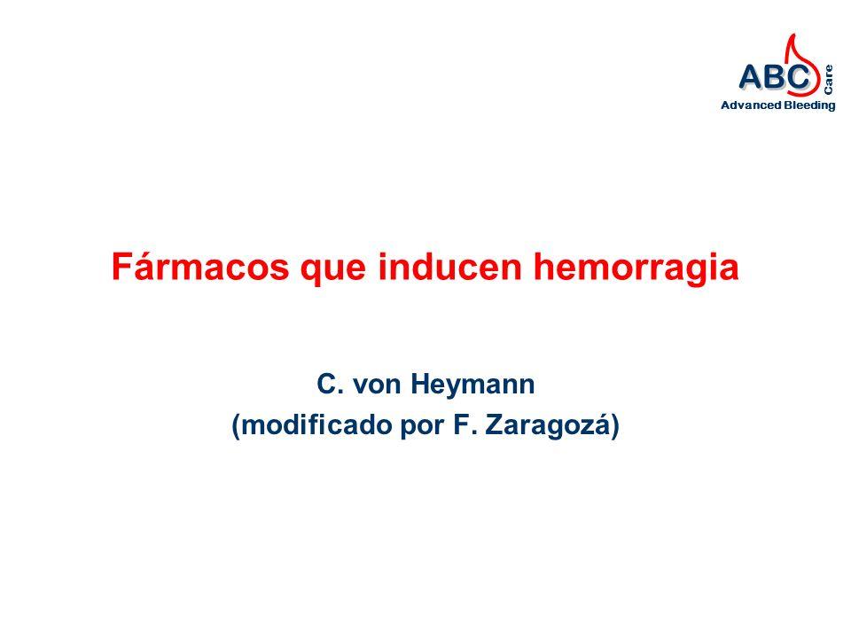 ABC Advanced Bleeding Care Fármacos que inducen hemorragia C. von Heymann (modificado por F. Zaragozá)