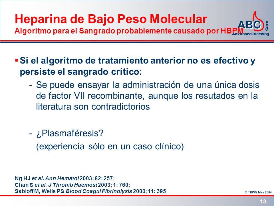 © TPWG May 2004 ABC Advanced Bleeding Care 13 Si el algoritmo de tratamiento anterior no es efectivo y persiste el sangrado crítico: -Se puede ensayar