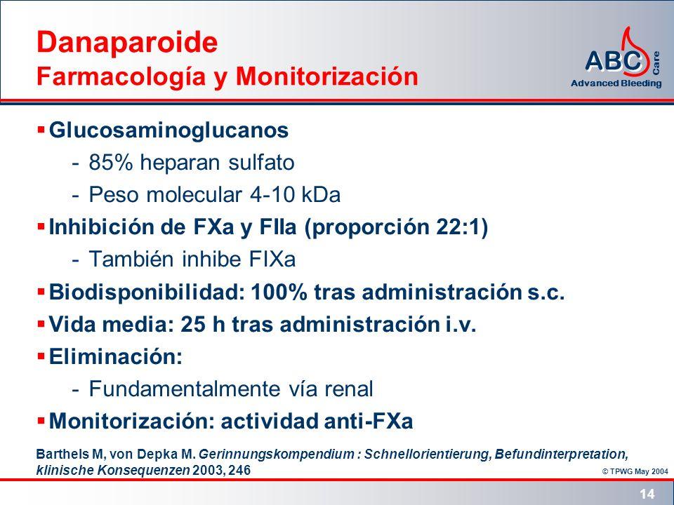 © TPWG May 2004 ABC Advanced Bleeding Care 14 Danaparoide Farmacología y Monitorización Glucosaminoglucanos -85% heparan sulfato -Peso molecular 4-10