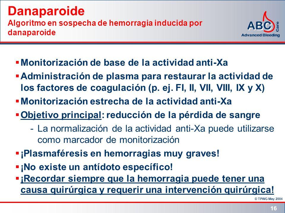 © TPWG May 2004 ABC Advanced Bleeding Care 16 Danaparoide Algoritmo en sospecha de hemorragia inducida por danaparoide Monitorización de base de la ac