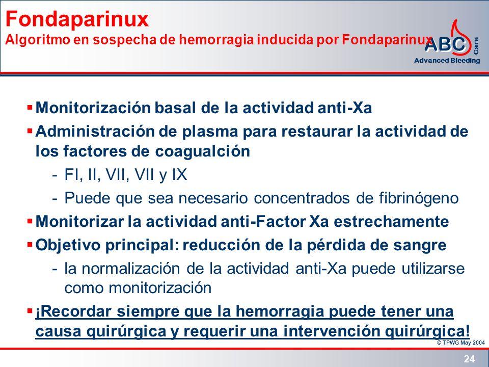 © TPWG May 2004 ABC Advanced Bleeding Care 24 Fondaparinux Algoritmo en sospecha de hemorragia inducida por Fondaparinux Monitorización basal de la ac