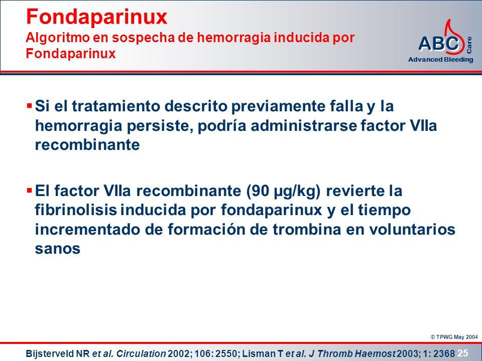© TPWG May 2004 ABC Advanced Bleeding Care 25 Fondaparinux Algoritmo en sospecha de hemorragia inducida por Fondaparinux Si el tratamiento descrito pr