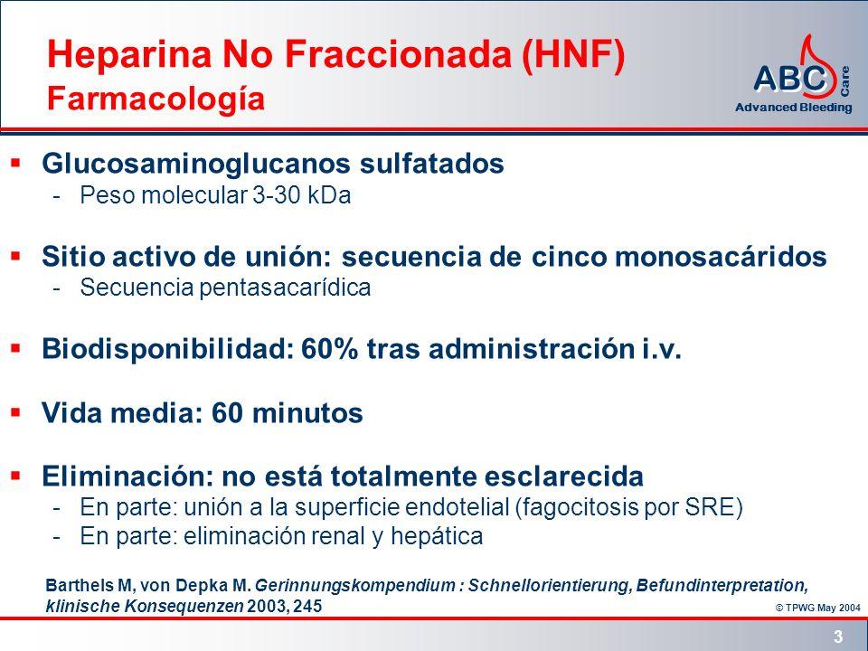 © TPWG May 2004 ABC Advanced Bleeding Care 3 Heparina No Fraccionada (HNF) Farmacología Glucosaminoglucanos sulfatados -Peso molecular 3-30 kDa Sitio