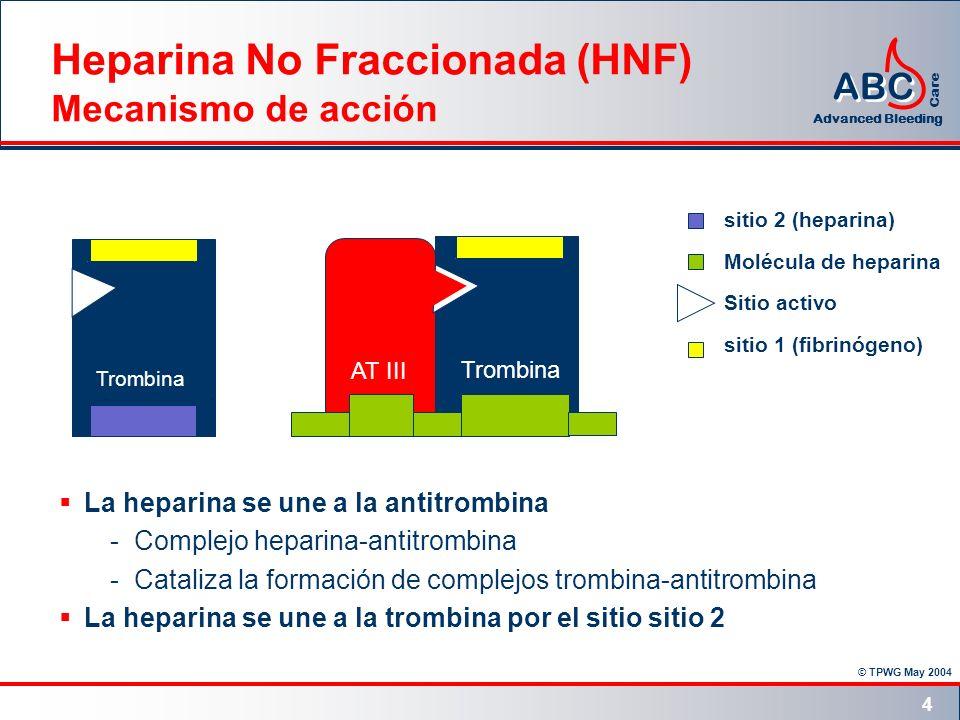 © TPWG May 2004 ABC Advanced Bleeding Care 4 Trombina AT III Heparina No Fraccionada (HNF) Mecanismo de acción La heparina se une a la antitrombina -C