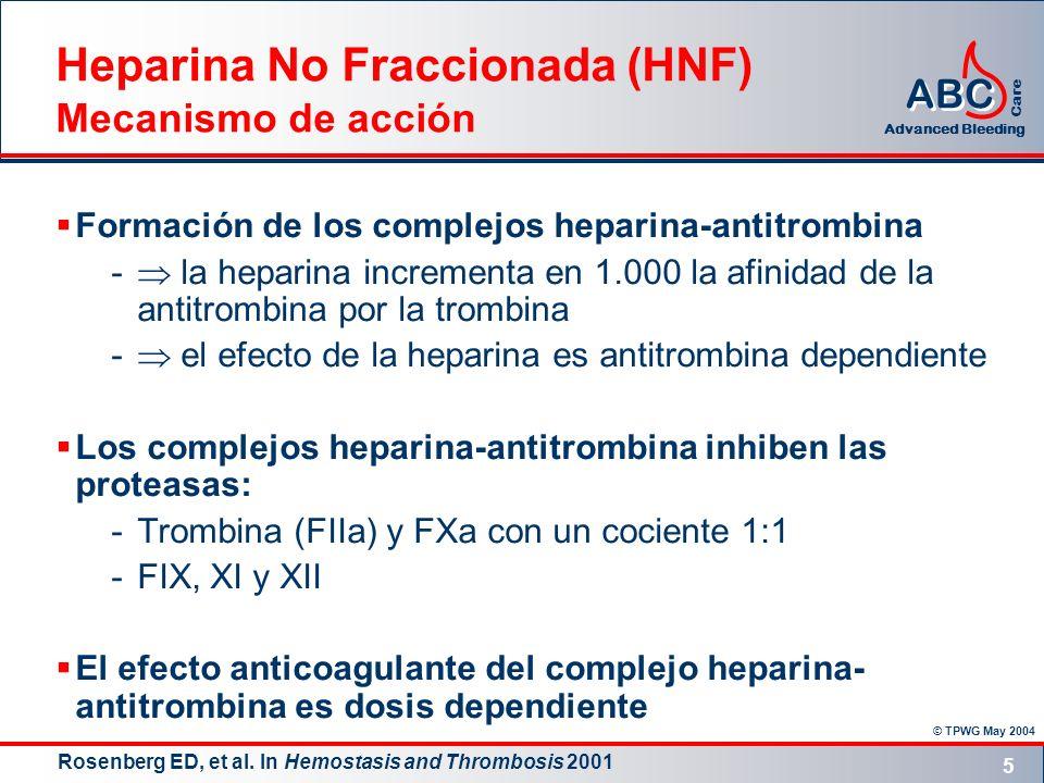 © TPWG May 2004 ABC Advanced Bleeding Care 5 Formación de los complejos heparina-antitrombina - la heparina incrementa en 1.000 la afinidad de la anti