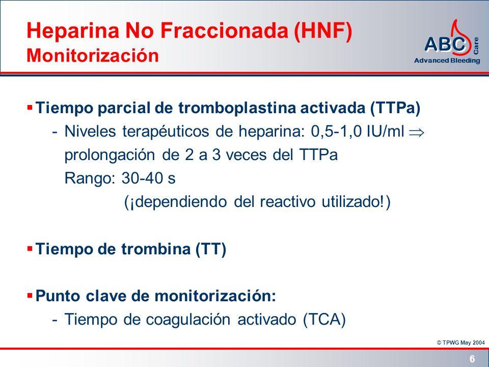 © TPWG May 2004 ABC Advanced Bleeding Care 6 Heparina No Fraccionada (HNF) Monitorización Tiempo parcial de tromboplastina activada (TTPa) -Niveles te