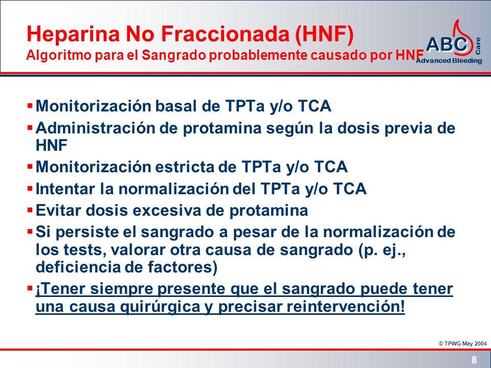 © TPWG May 2004 ABC Advanced Bleeding Care 8 Heparina No Fraccionada (HNF) Algoritmo para el Sangrado probablemente causado por HNF Monitorización bas