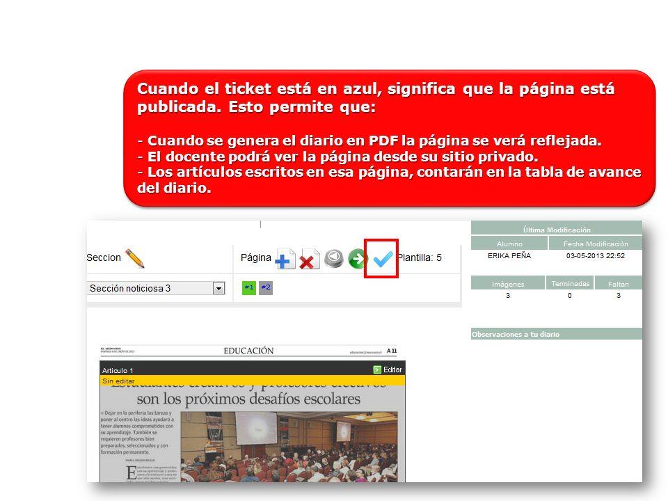 Cuando el ticket está en azul, significa que la página está publicada.