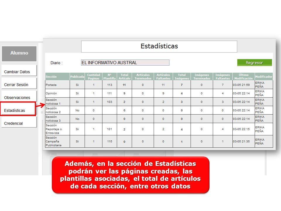 Además, en la sección de Estadísticas podrán ver las páginas creadas, las plantillas asociadas, el total de artículos de cada sección, entre otros datos