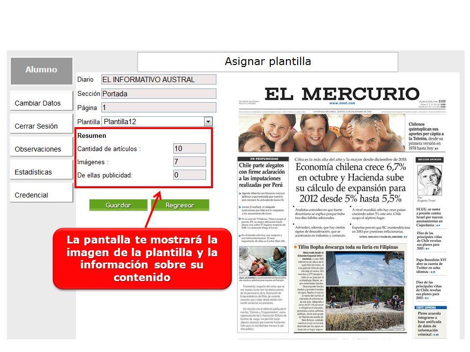La pantalla te mostrará la imagen de la plantilla y la información sobre su contenido