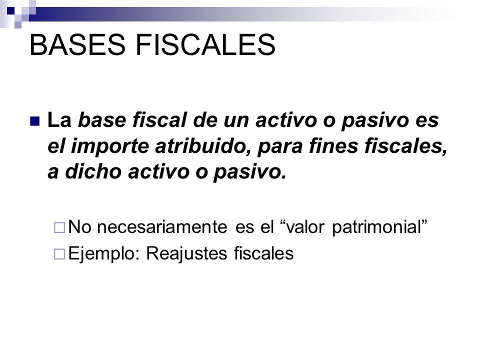 La base fiscal de un activo o pasivo es el importe atribuido, para fines fiscales, a dicho activo o pasivo. No necesariamente es el valor patrimonial