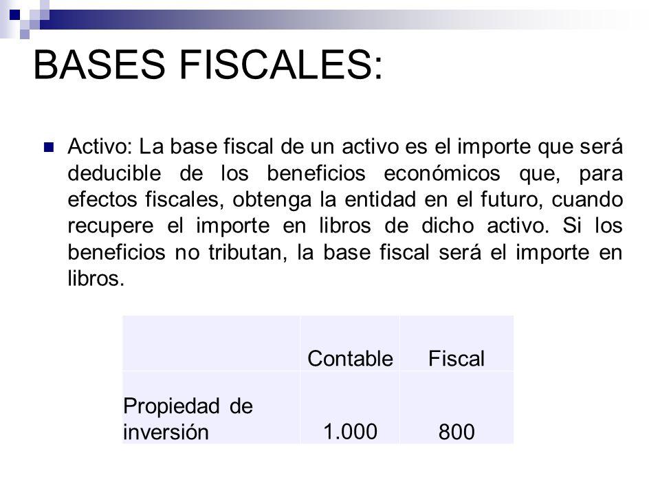 Activo: La base fiscal de un activo es el importe que será deducible de los beneficios económicos que, para efectos fiscales, obtenga la entidad en el