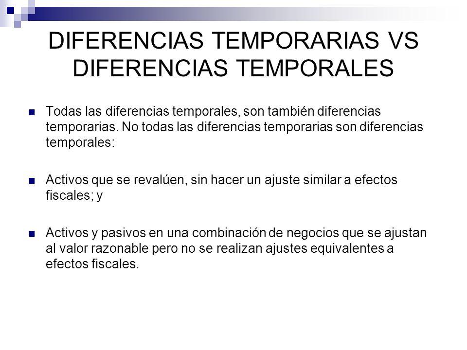 Todas las diferencias temporales, son también diferencias temporarias. No todas las diferencias temporarias son diferencias temporales: Activos que se