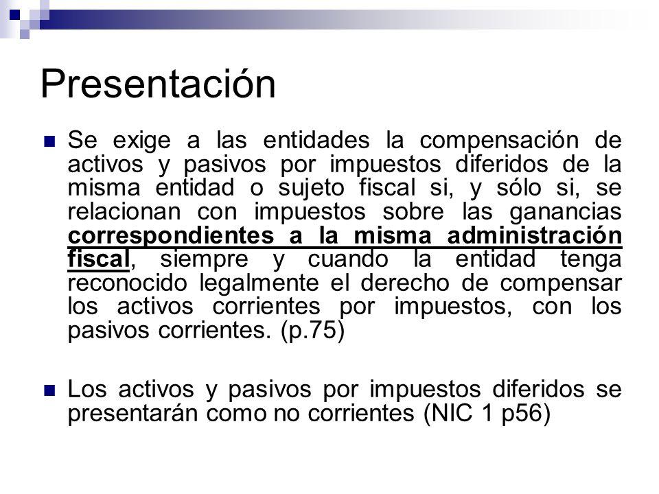 Presentación Se exige a las entidades la compensación de activos y pasivos por impuestos diferidos de la misma entidad o sujeto fiscal si, y sólo si,