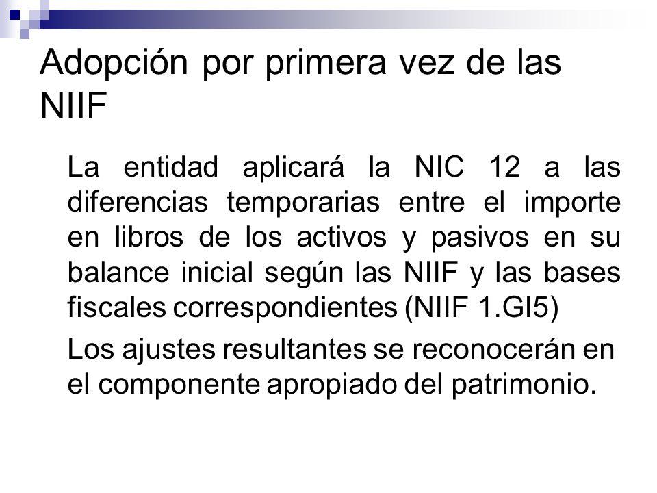 Adopción por primera vez de las NIIF La entidad aplicará la NIC 12 a las diferencias temporarias entre el importe en libros de los activos y pasivos e