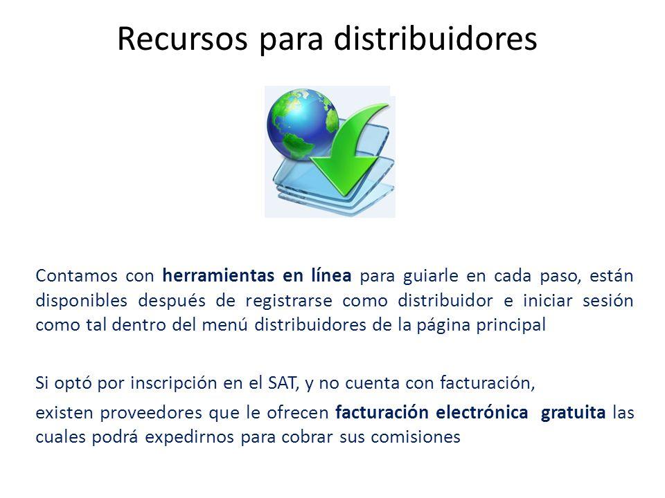 Recursos para distribuidores Contamos con herramientas en línea para guiarle en cada paso, están disponibles después de registrarse como distribuidor