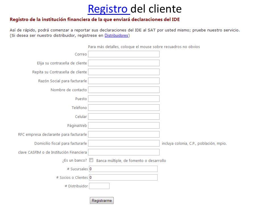 Registro Registro del cliente