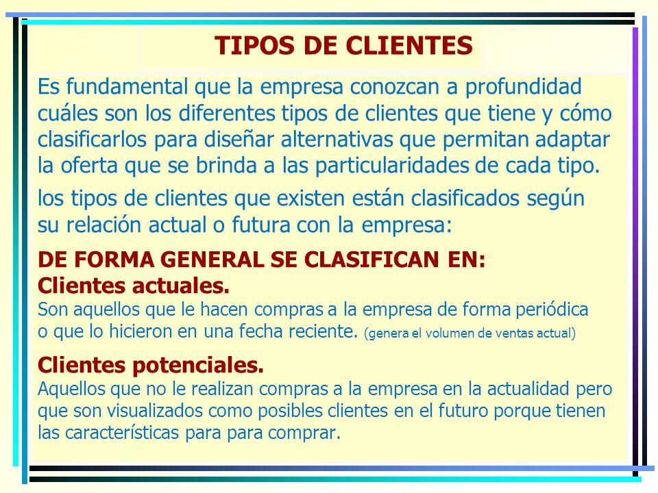 TIPOS DE CLIENTES Es fundamental que la empresa conozcan a profundidad cuáles son los diferentes tipos de clientes que tiene y cómo clasificarlos para