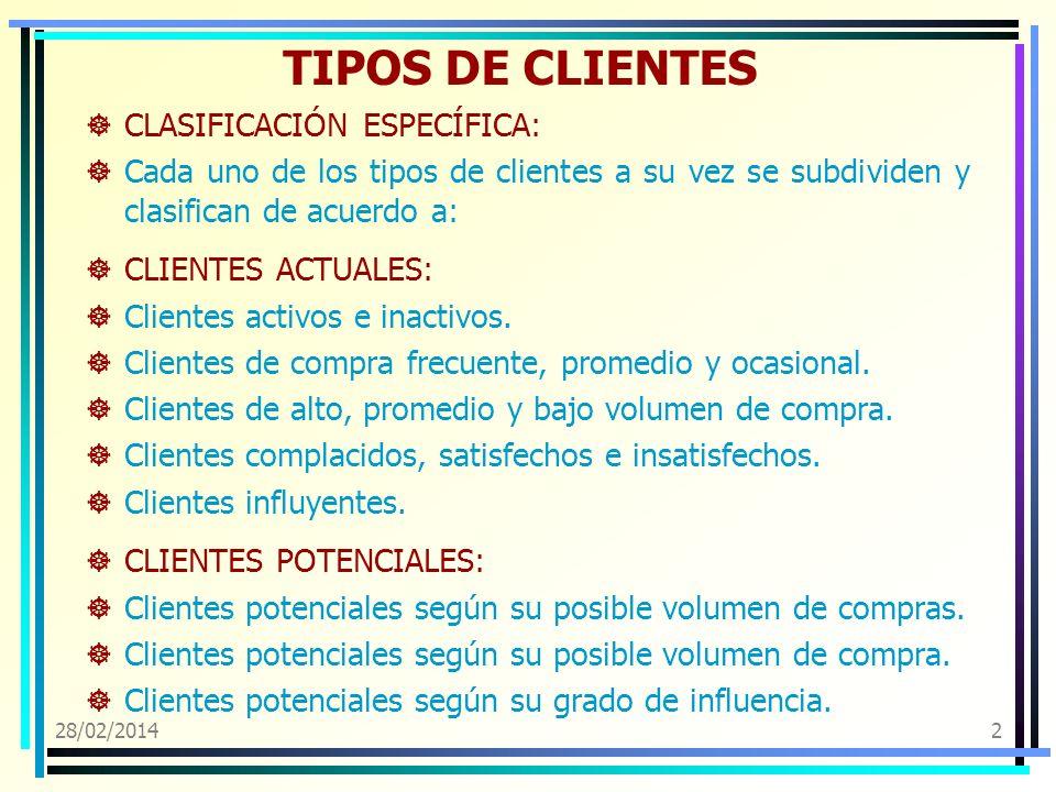 28/02/20142 TIPOS DE CLIENTES CLASIFICACIÓN ESPECÍFICA: Cada uno de los tipos de clientes a su vez se subdividen y clasifican de acuerdo a: CLIENTES A