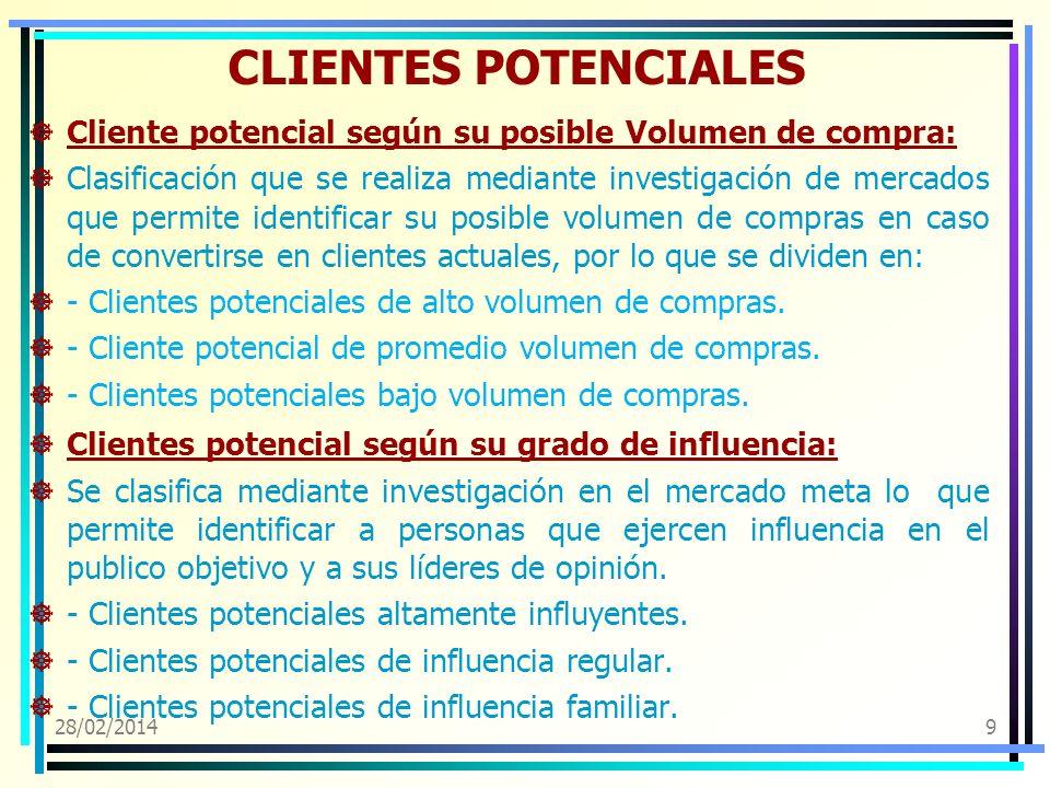 28/02/20149 CLIENTES POTENCIALES Cliente potencial según su posible Volumen de compra: Clasificación que se realiza mediante investigación de mercados