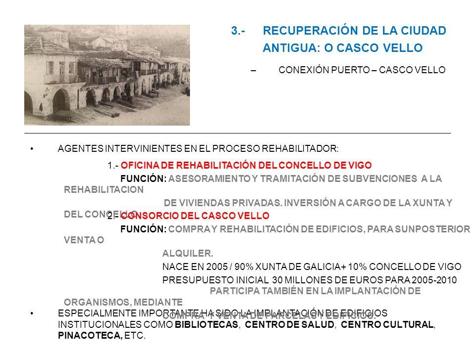 3.-RECUPERACIÓN DE LA CIUDAD ANTIGUA: O CASCO VELLO –CONEXIÓN PUERTO – CASCO VELLO AGENTES INTERVINIENTES EN EL PROCESO REHABILITADOR: ESPECIALMENTE I