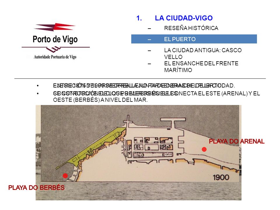1.LA CIUDAD-VIGO –RESEÑA HISTÓRICA –EL PUERTO –LA CIUDAD ANTIGUA: CASCO VELLO –EL ENSANCHE DEL FRENTE MARÍTIMO 1910 ANTEPROYECTO DEL PLAN GENERAL DEL PUERTO DE EDUARDO CABELLO.