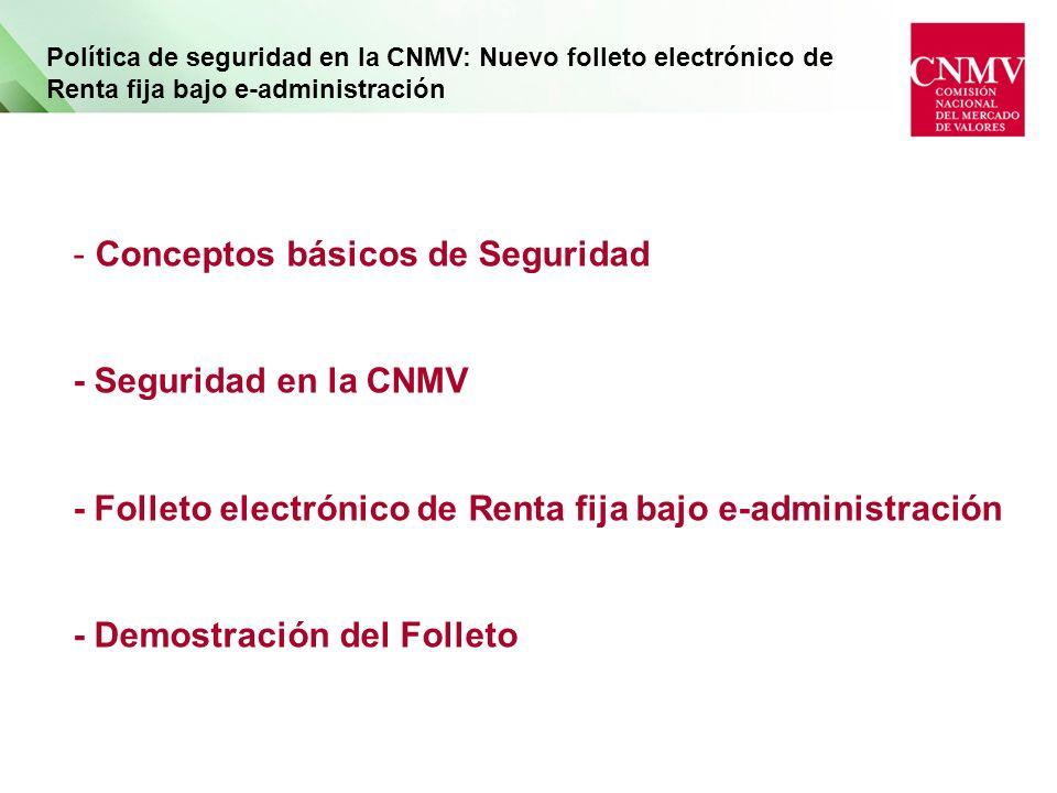 Política de seguridad en la CNMV: Nuevo folleto electrónico de Renta fija bajo e-administración - Conceptos básicos de Seguridad - Seguridad en la CNMV - Folleto electrónico de Renta fija bajo e-administración - Demostración del Folleto