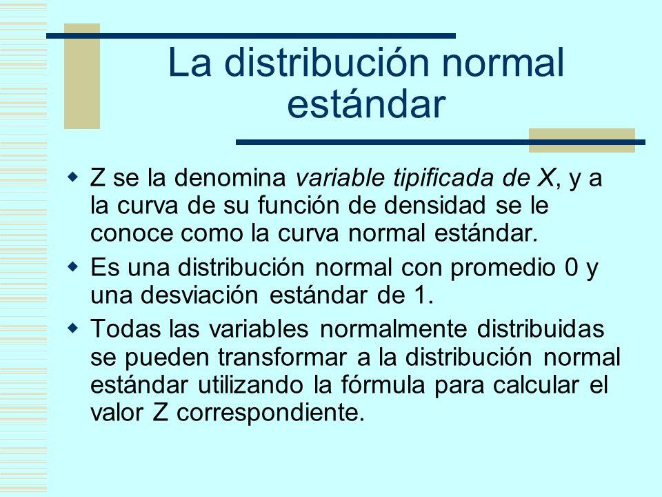 La distribución normal estándar Z se la denomina variable tipificada de X, y a la curva de su función de densidad se le conoce como la curva normal es