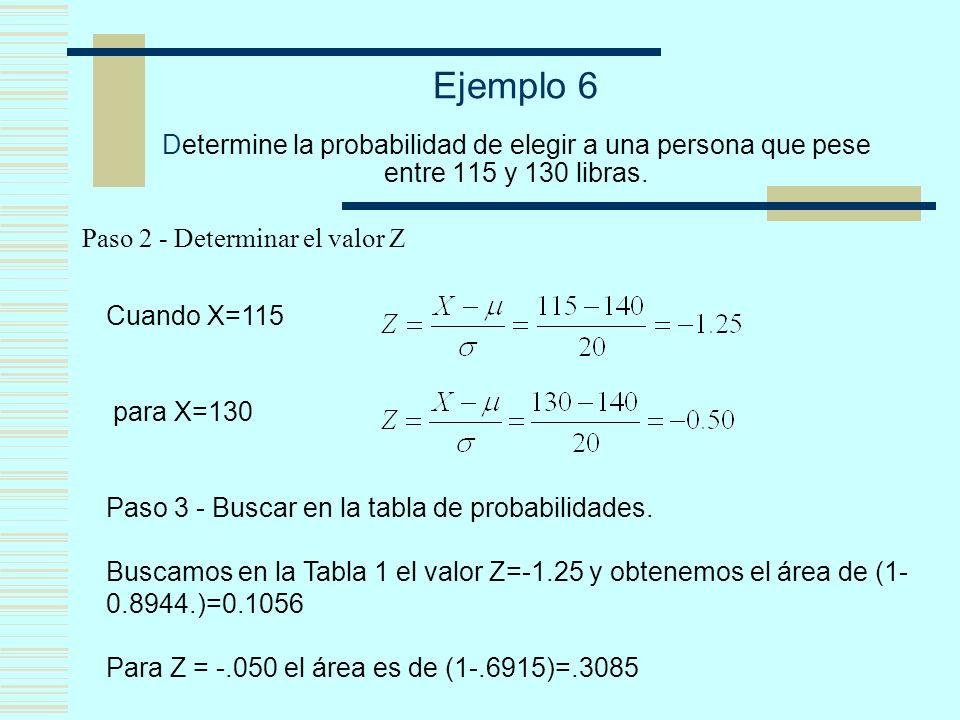 Ejemplo 6 Determine la probabilidad de elegir a una persona que pese entre 115 y 130 libras. Paso 2 - Determinar el valor Z Cuando X=115 para X=130 Pa