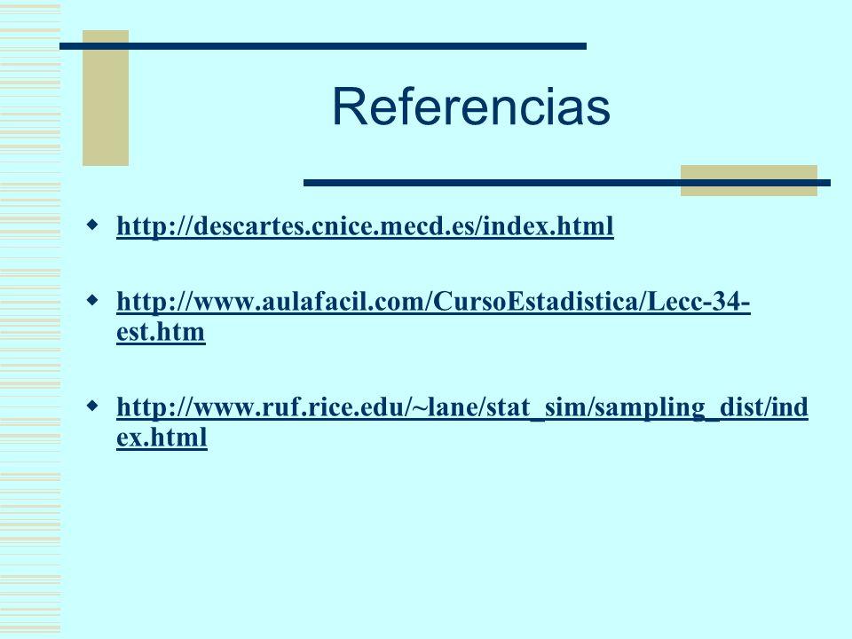 Referencias http://descartes.cnice.mecd.es/index.html http://www.aulafacil.com/CursoEstadistica/Lecc-34- est.htm http://www.aulafacil.com/CursoEstadis