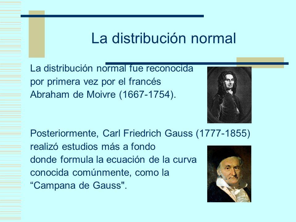 La distribución normal La distribución normal fue reconocida por primera vez por el francés Abraham de Moivre (1667-1754). Posteriormente, Carl Friedr
