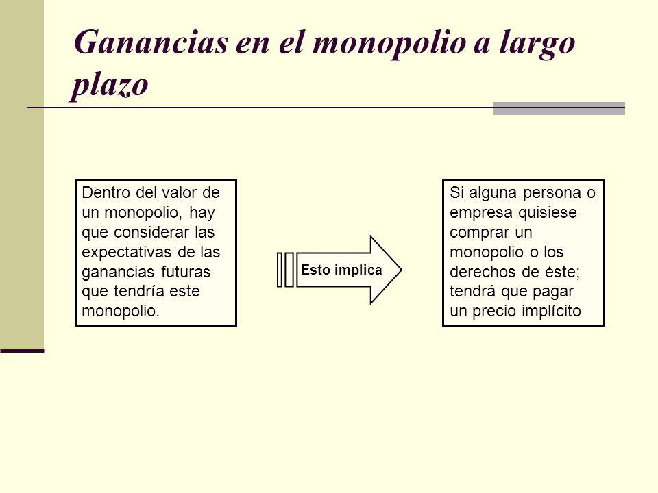 Ganancias en el monopolio a largo plazo Dentro del valor de un monopolio, hay que considerar las expectativas de las ganancias futuras que tendría est