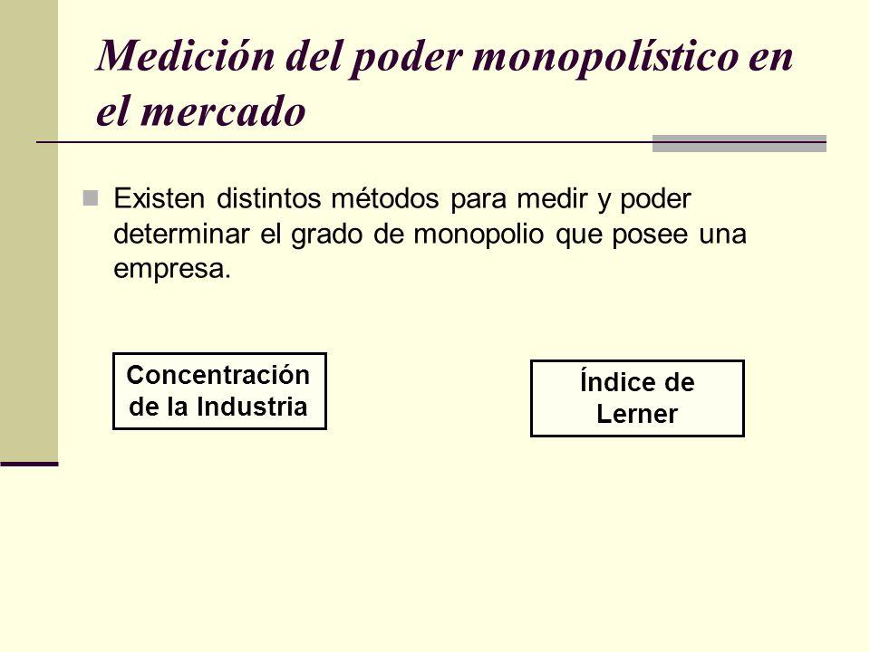 Medición del poder monopolístico en el mercado Existen distintos métodos para medir y poder determinar el grado de monopolio que posee una empresa. Co