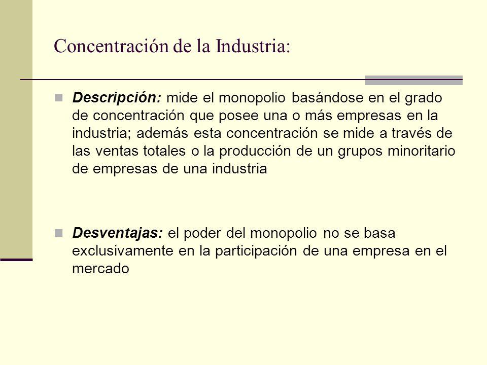 Concentración de la Industria: Descripción: mide el monopolio basándose en el grado de concentración que posee una o más empresas en la industria; ade