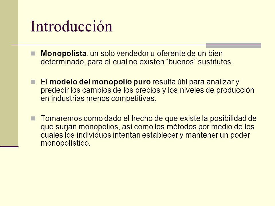 Introducción Monopolista: un solo vendedor u oferente de un bien determinado, para el cual no existen buenos sustitutos. El modelo del monopolio puro