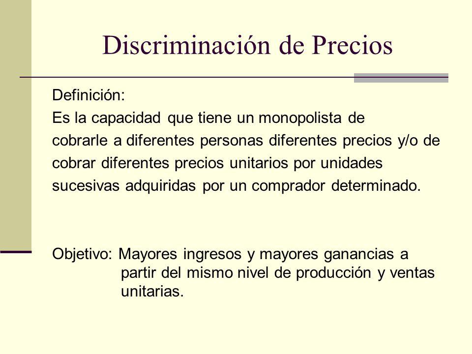 Discriminación de Precios Definición: Es la capacidad que tiene un monopolista de cobrarle a diferentes personas diferentes precios y/o de cobrar dife