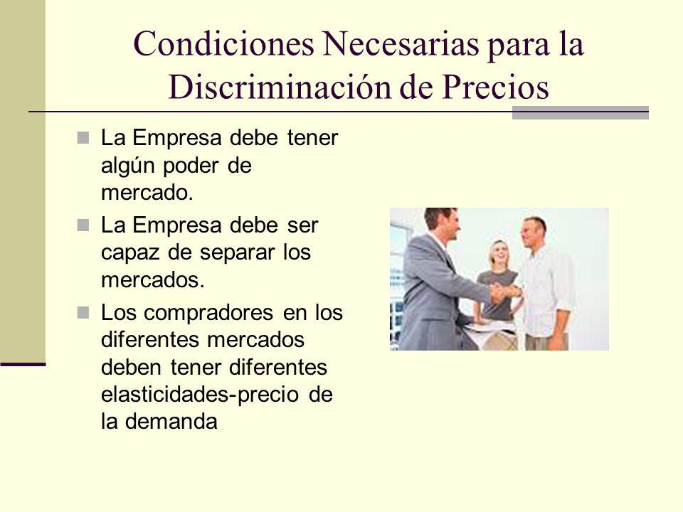Condiciones Necesarias para la Discriminación de Precios La Empresa debe tener algún poder de mercado. La Empresa debe ser capaz de separar los mercad